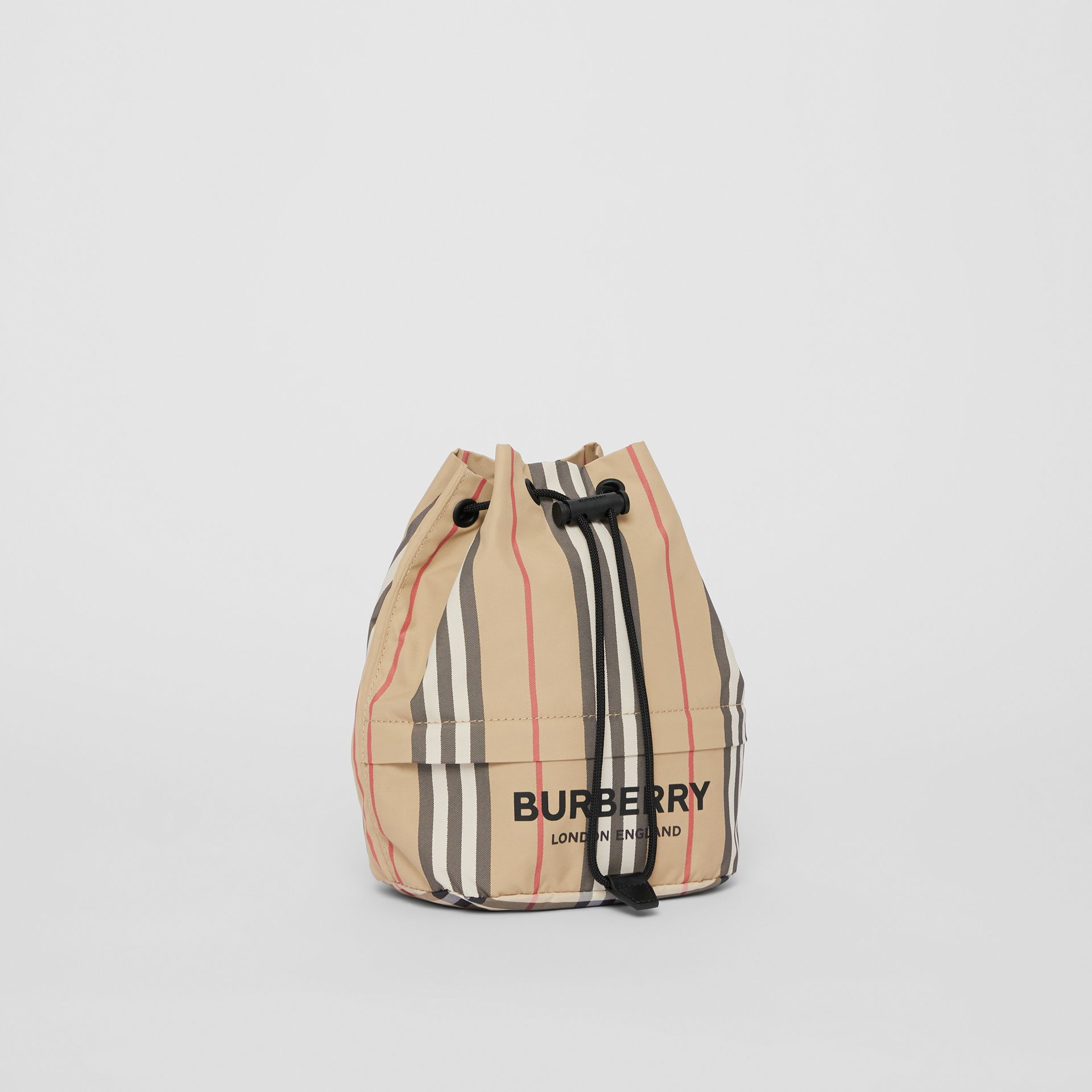 Logo Print Icon Stripe Nylon Drawcord Pouch in Archive Beige - Women | Burberry - gallery image 6