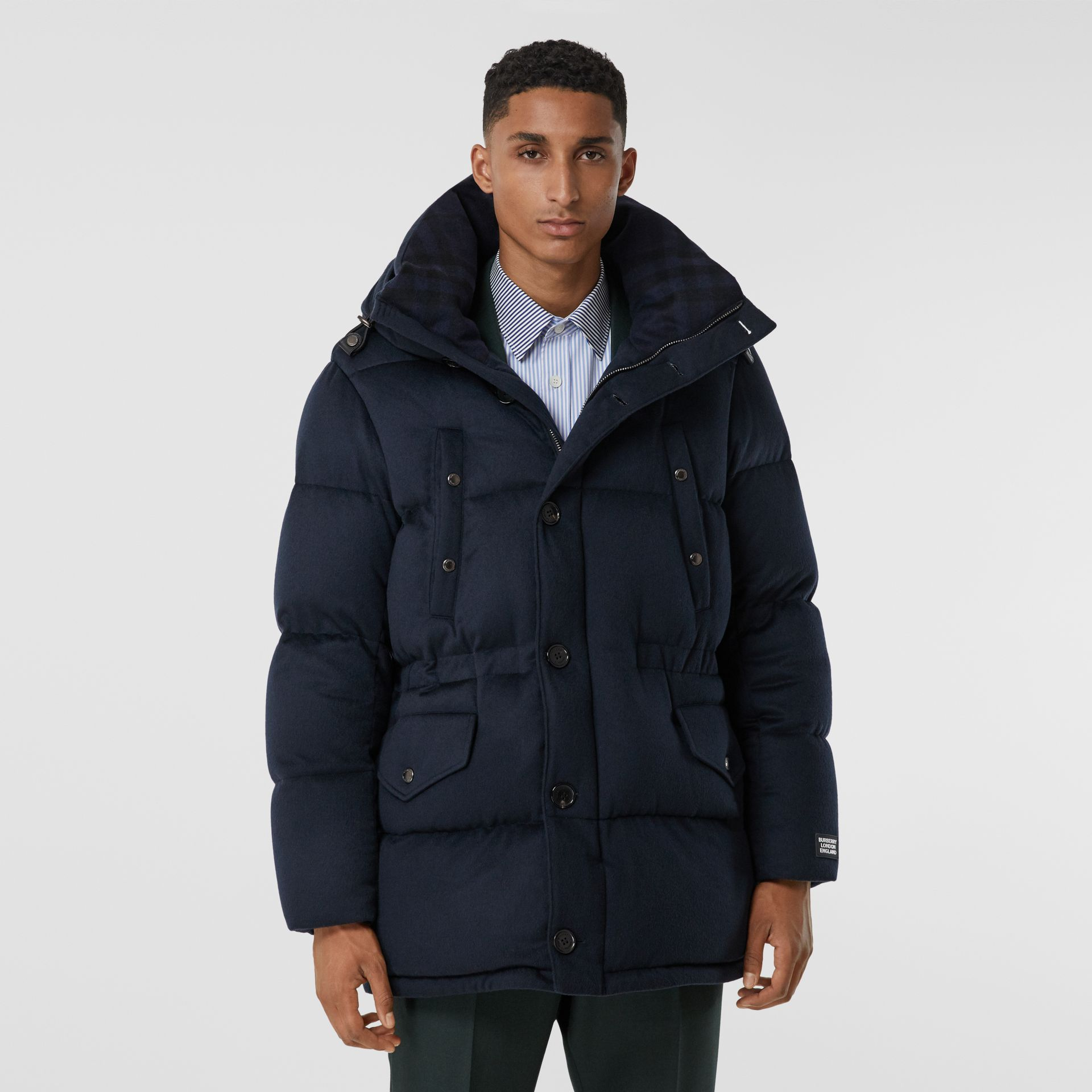 Cashmere Hooded Puffer Coat in Navy - Men | Burberry - gallery image 6