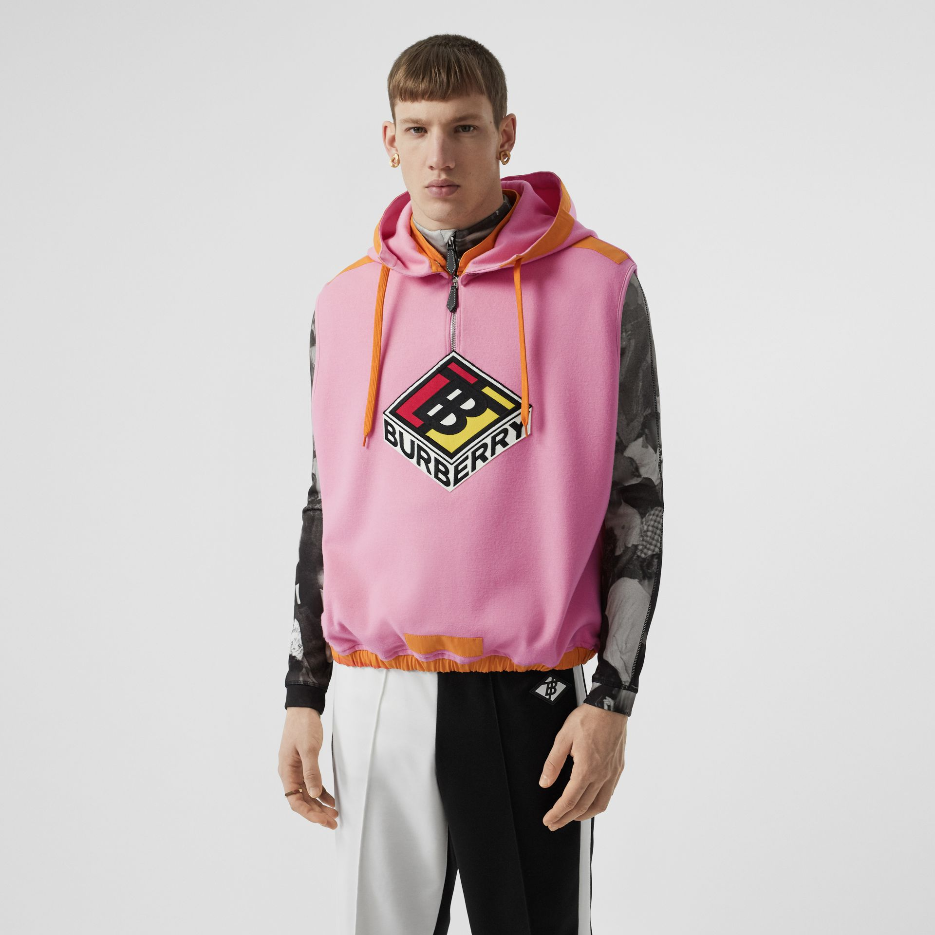 Sleeveless Logo Graphic Wool Hoodie in Candy Pink - Men | Burberry United States - gallery image 0