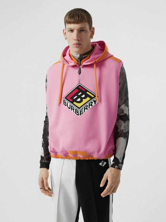 Sleeveless Logo Graphic Wool Hoodie in Candy Pink