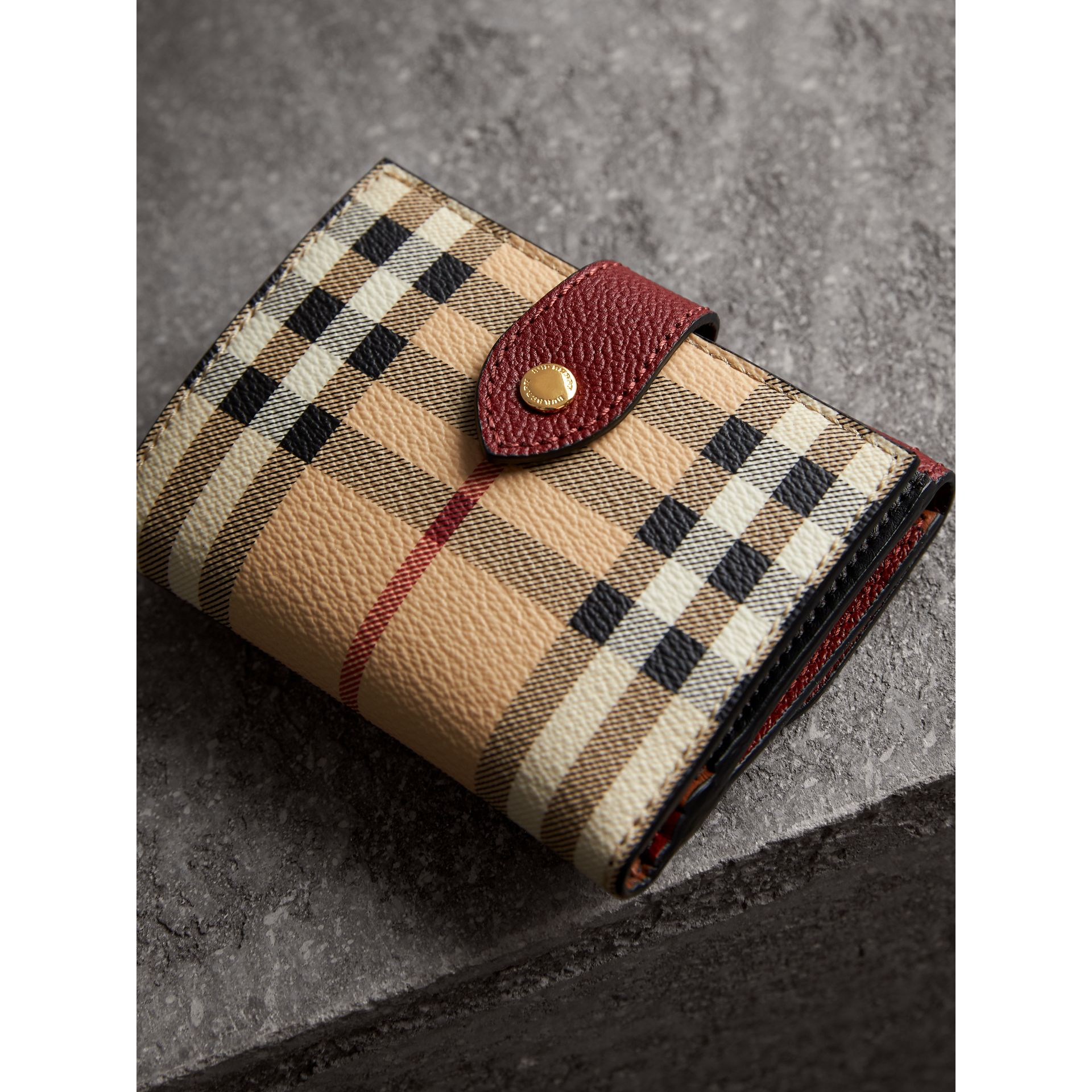 Haymarket Check and Leather Wallet in Burgundy/multicolour - Women | Burberry - gallery image 3