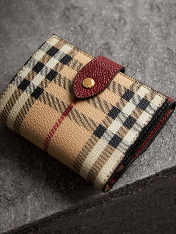 Haymarket Check and Leather Wallet in Burgundy/multicolour - Women | Burberry - cell image 2