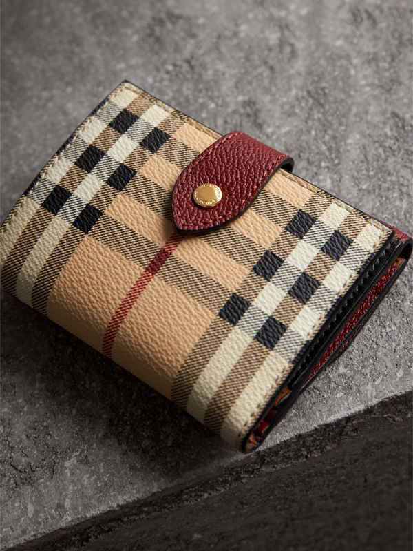 Haymarket Check and Leather Wallet in Burgundy/multicolour - Women | Burberry United Kingdom - cell image 2