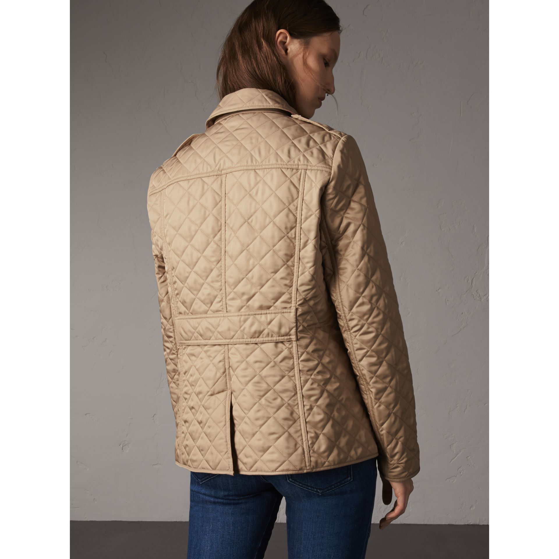 Diamond Quilted Jacket in Canvas - Women | Burberry Canada - gallery image 3