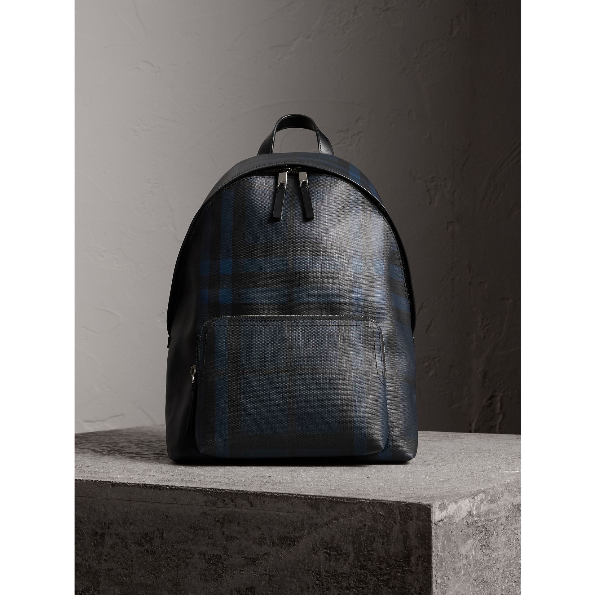 Leather Trim London Check Backpack in Navy/black - Men | Burberry - gallery image 1