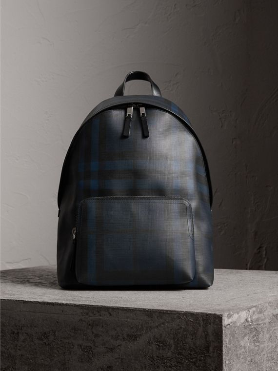 Leather Trim London Check Backpack in Navy/black