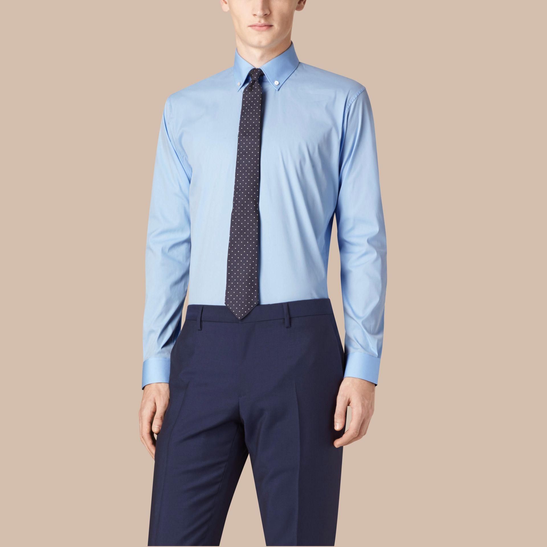 Modern Fit Button-down Collar Stretch Cotton Shirt in City Blue - gallery image 1