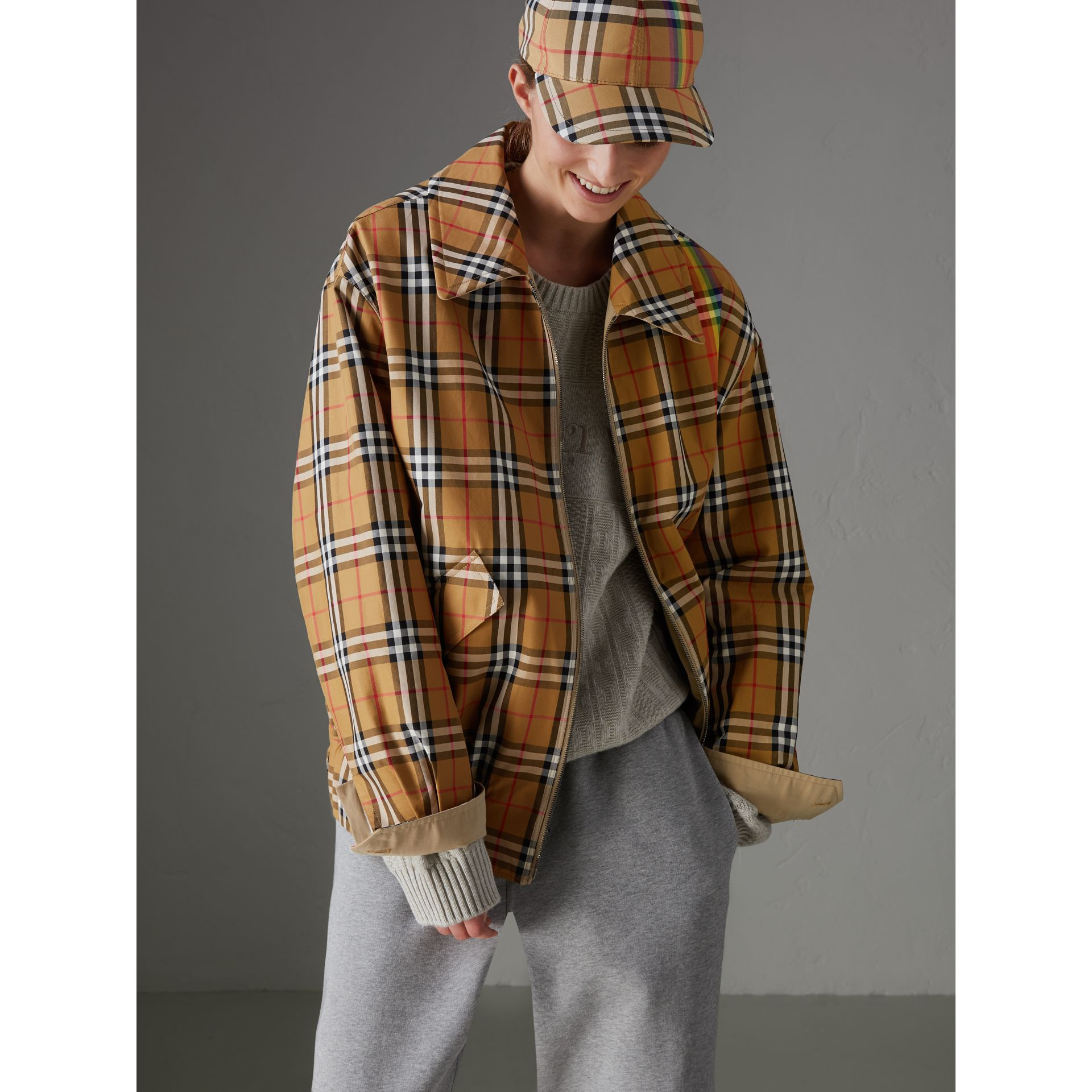 Rainbow Vintage Check Harrington Jacket in Antique Yellow/rainbow | Burberry Australia - gallery image 5