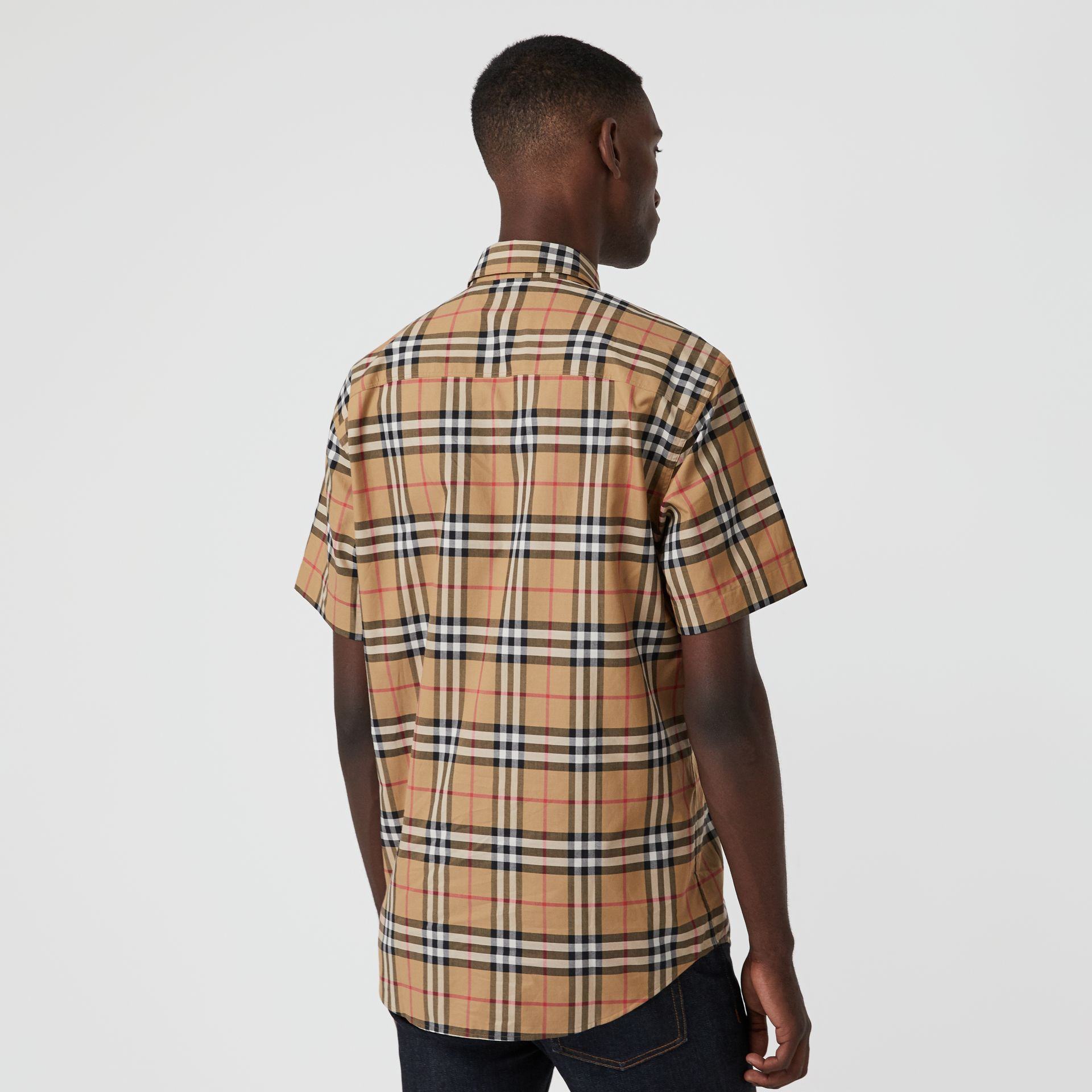 Short-sleeve Vintage Check Shirt in Antique Yellow | Burberry Australia - gallery image 2