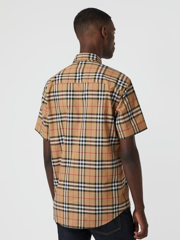 Short-sleeve Vintage Check Shirt in Antique Yellow | Burberry United Kingdom - cell image 2
