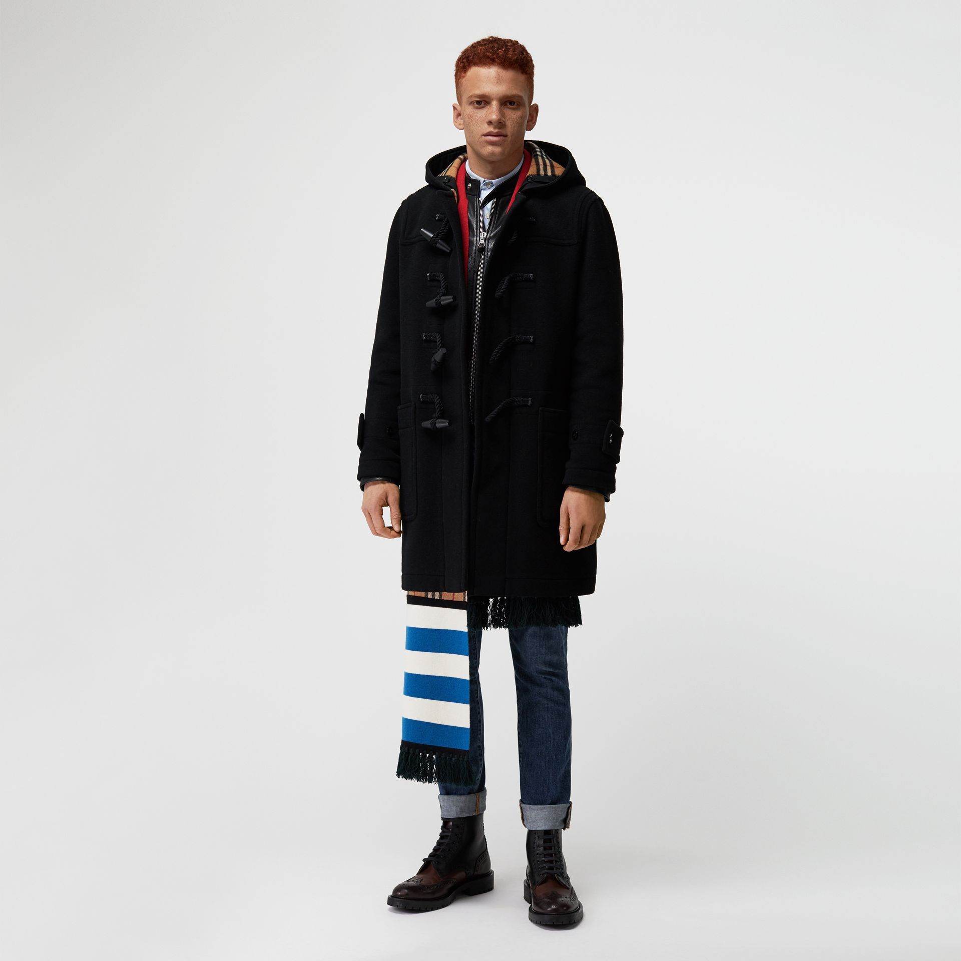 Vintage Check Detail Wool Blend Hooded Duffle Coat in Black - Men | Burberry Australia - gallery image 0