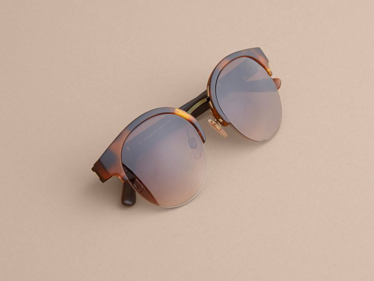 Check Detail Round Half-frame Sunglasses in Brown - Women | Burberry - cell image 4