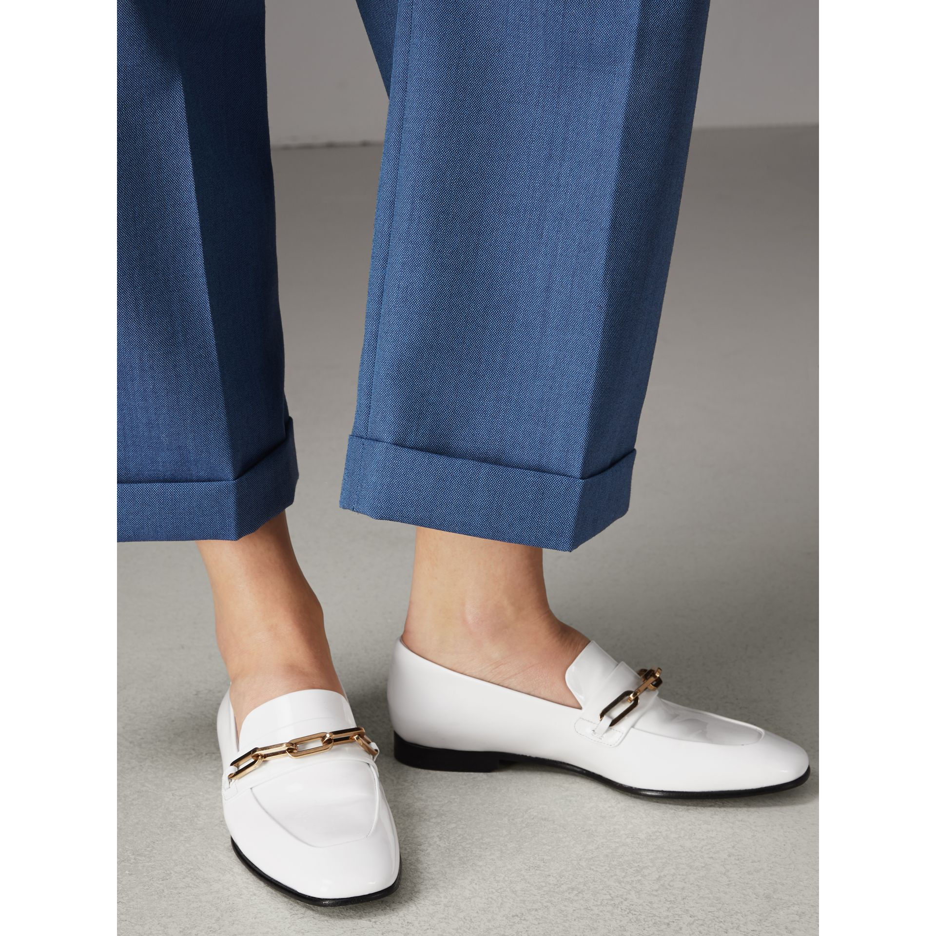 Link Detail Patent Leather Loafers in Optic White - Women | Burberry - gallery image 2