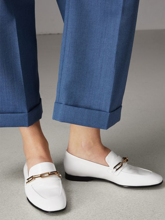Link Detail Patent Leather Loafers in Optic White - Women | Burberry - cell image 2