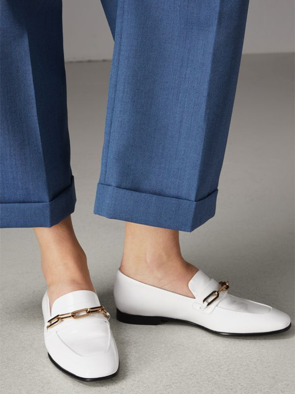 Link Detail Patent Leather Loafers in Optic White - Women | Burberry United States - cell image 2