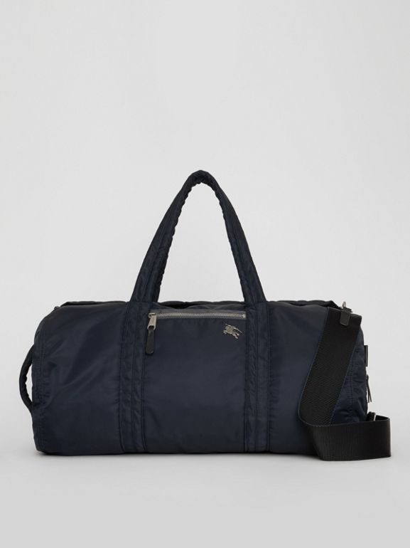Large EKD Aviator Nylon and Leather Barrel Bag in Ink Blue - Men | Burberry United States - cell image 1