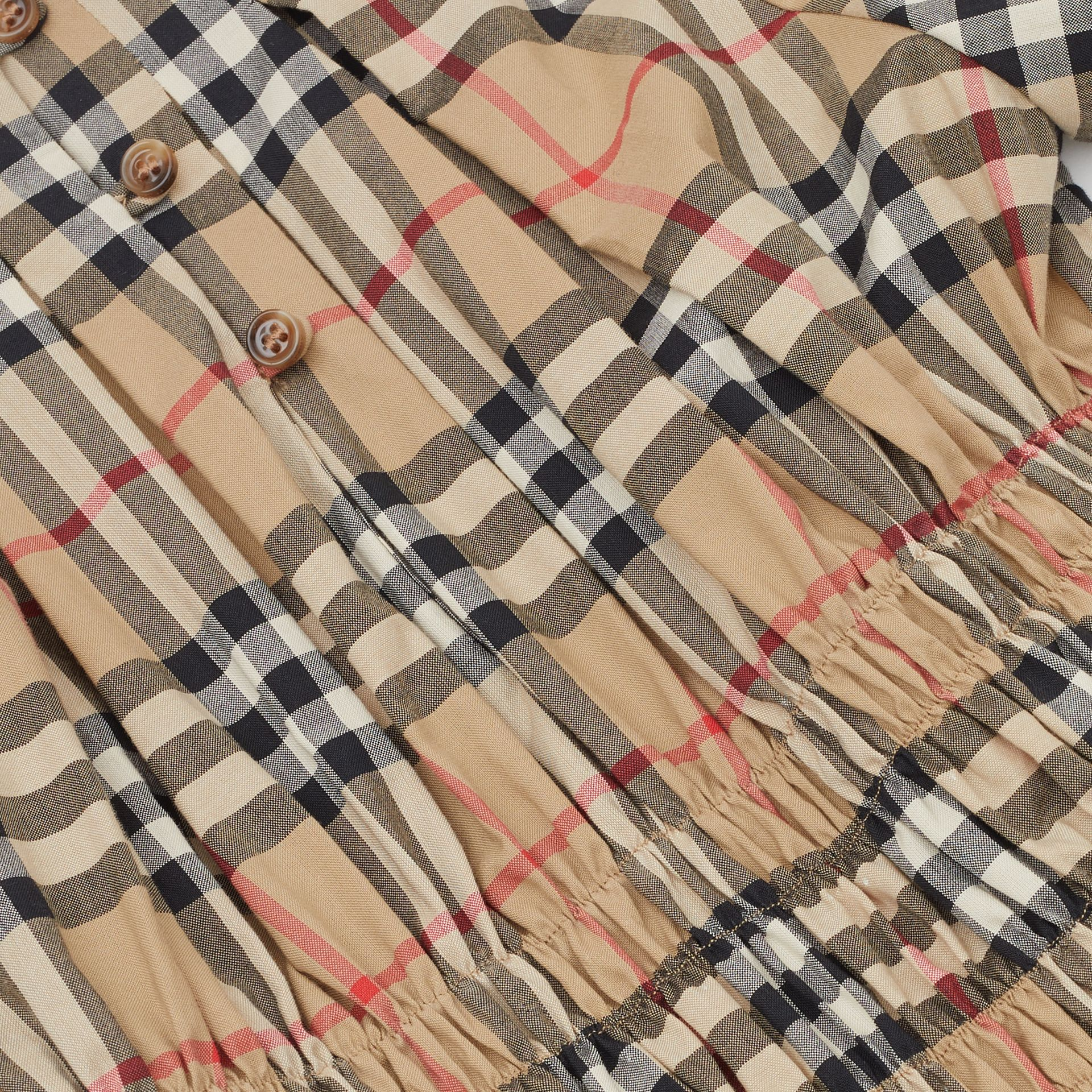 Ruched Panel Vintage Check Cotton Dress in Archive Beige | Burberry Hong Kong S.A.R - gallery image 1