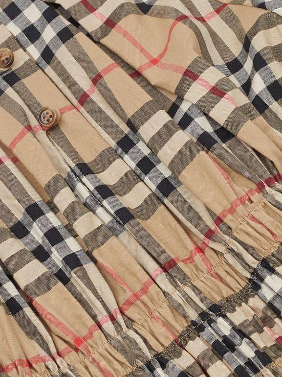 Ruched Panel Vintage Check Cotton Dress in Archive Beige | Burberry Hong Kong S.A.R - cell image 1