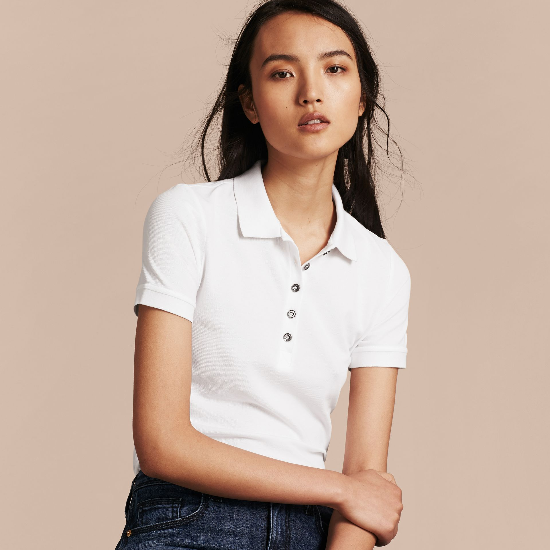 Check Trim Stretch Cotton Piqué Polo Shirt in White - Women | Burberry Canada - gallery image 6