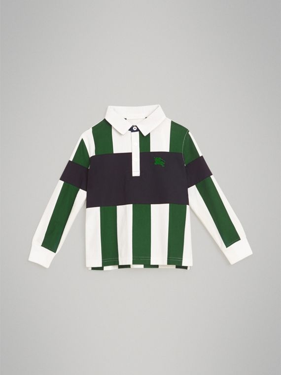 Long-sleeve Striped Cotton Polo Shirt in Racing Green/white
