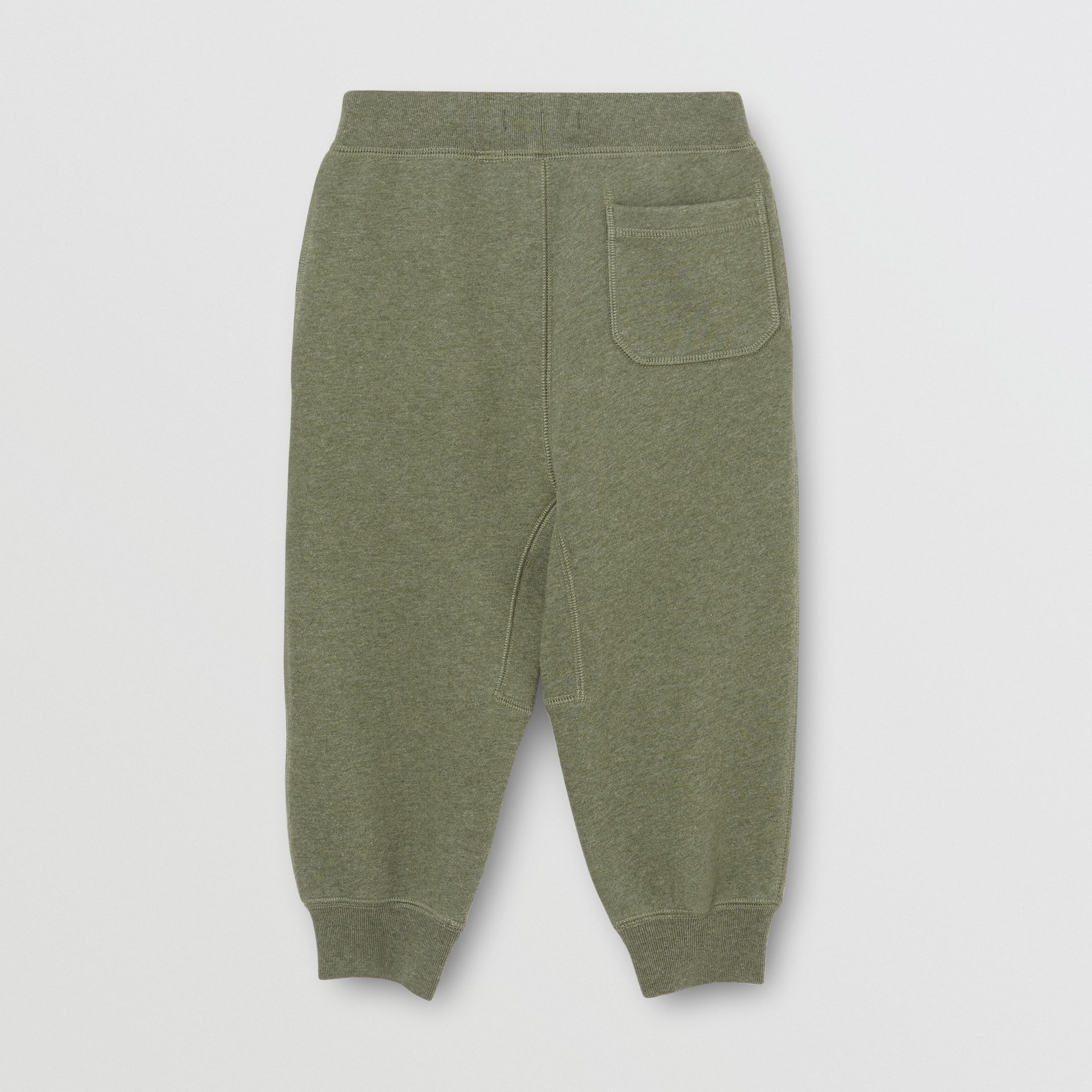 Cotton Jersey Trackpants in Olive Melange | Burberry - gallery image 3