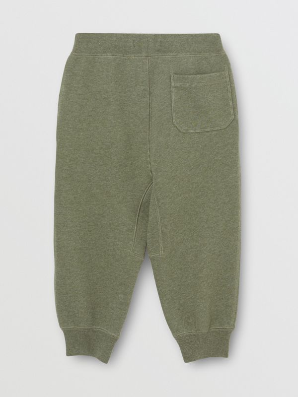 Cotton Jersey Trackpants in Olive Melange | Burberry Australia - cell image 3