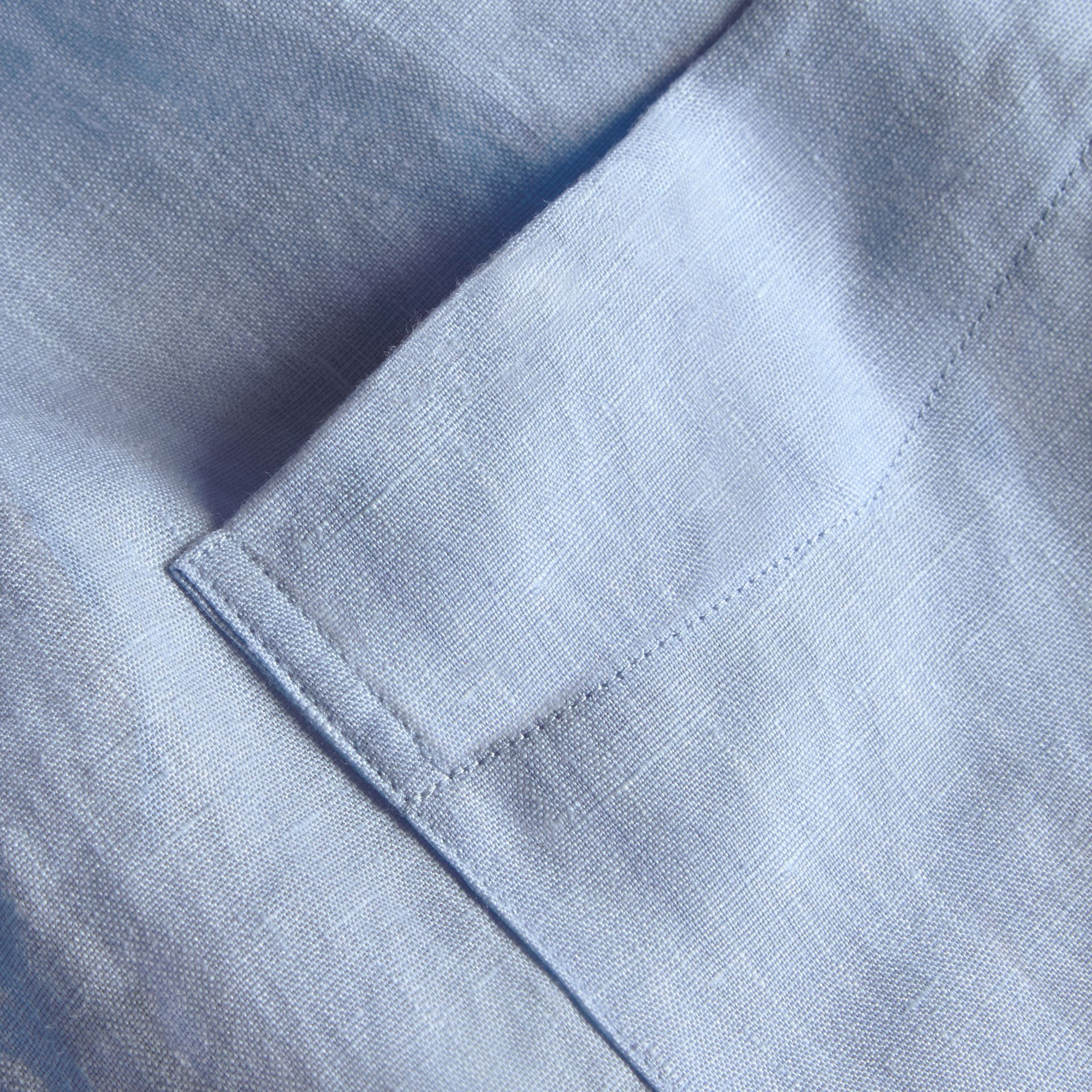 Check Detail Linen Shirt in Pale Blue - Men | Burberry - gallery image 2