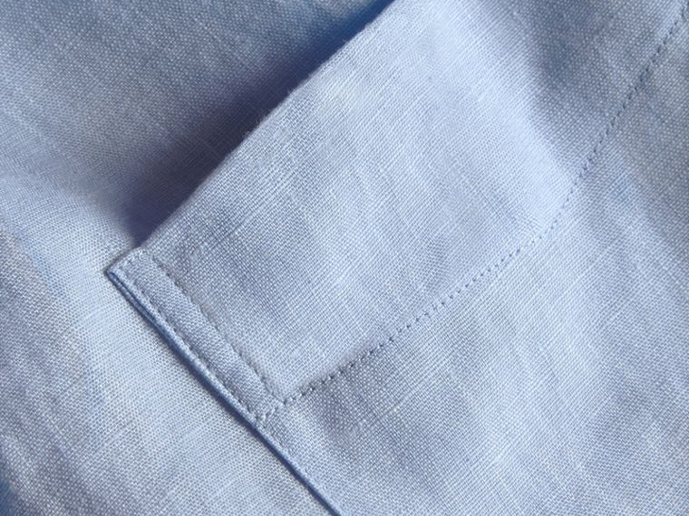 Check Detail Linen Shirt in Pale Blue - Men | Burberry - cell image 1