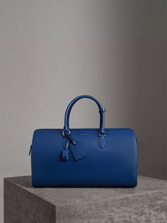 Borsone in pelle London (Blu Bruno)