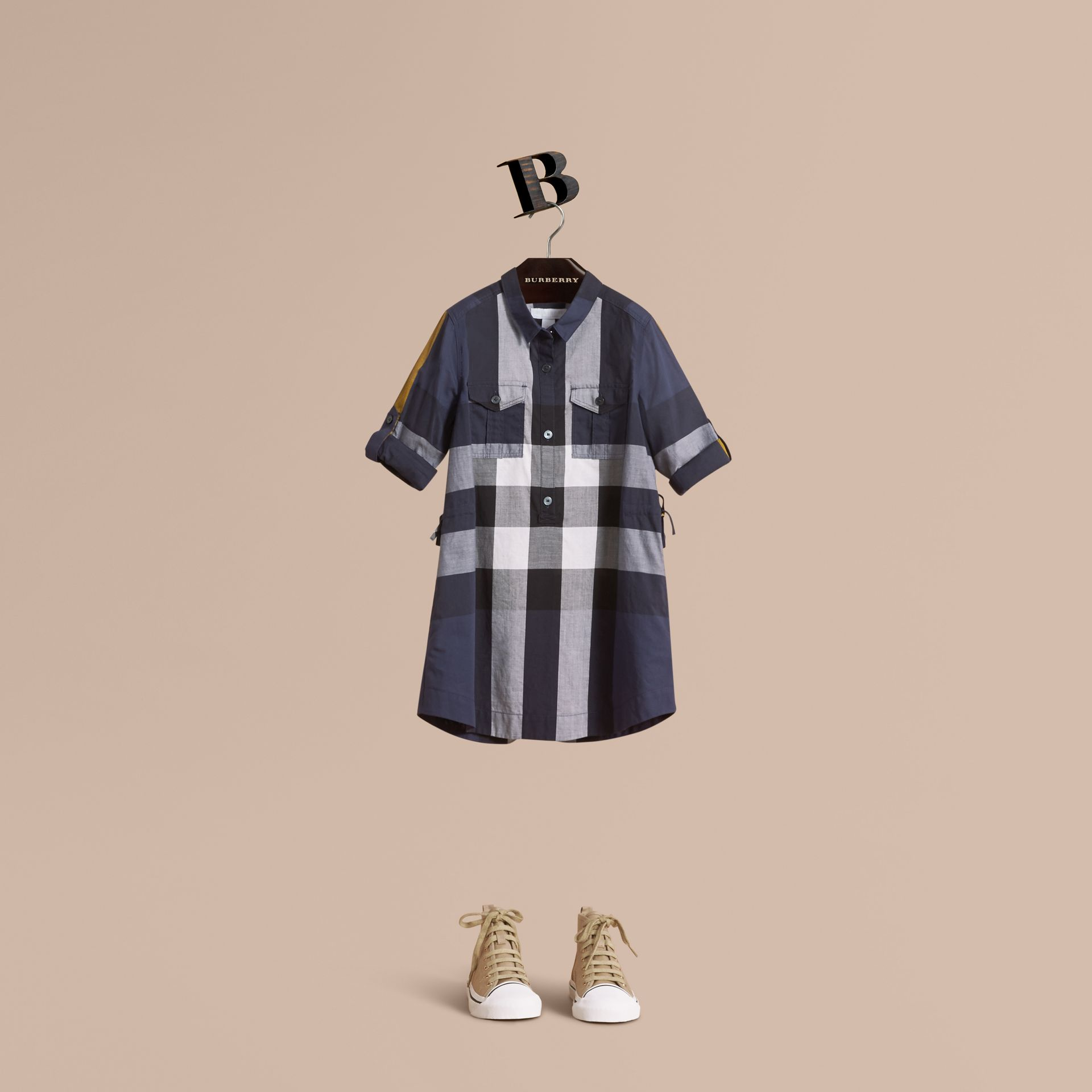 Check Cotton Shirt Dress in Pale Navy - Girl | Burberry Canada - gallery image 1