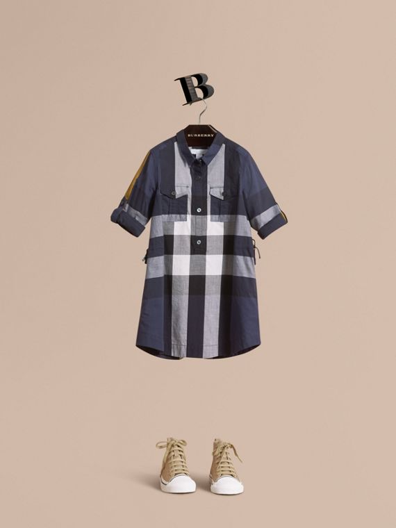 Check Cotton Shirt Dress in Pale Navy