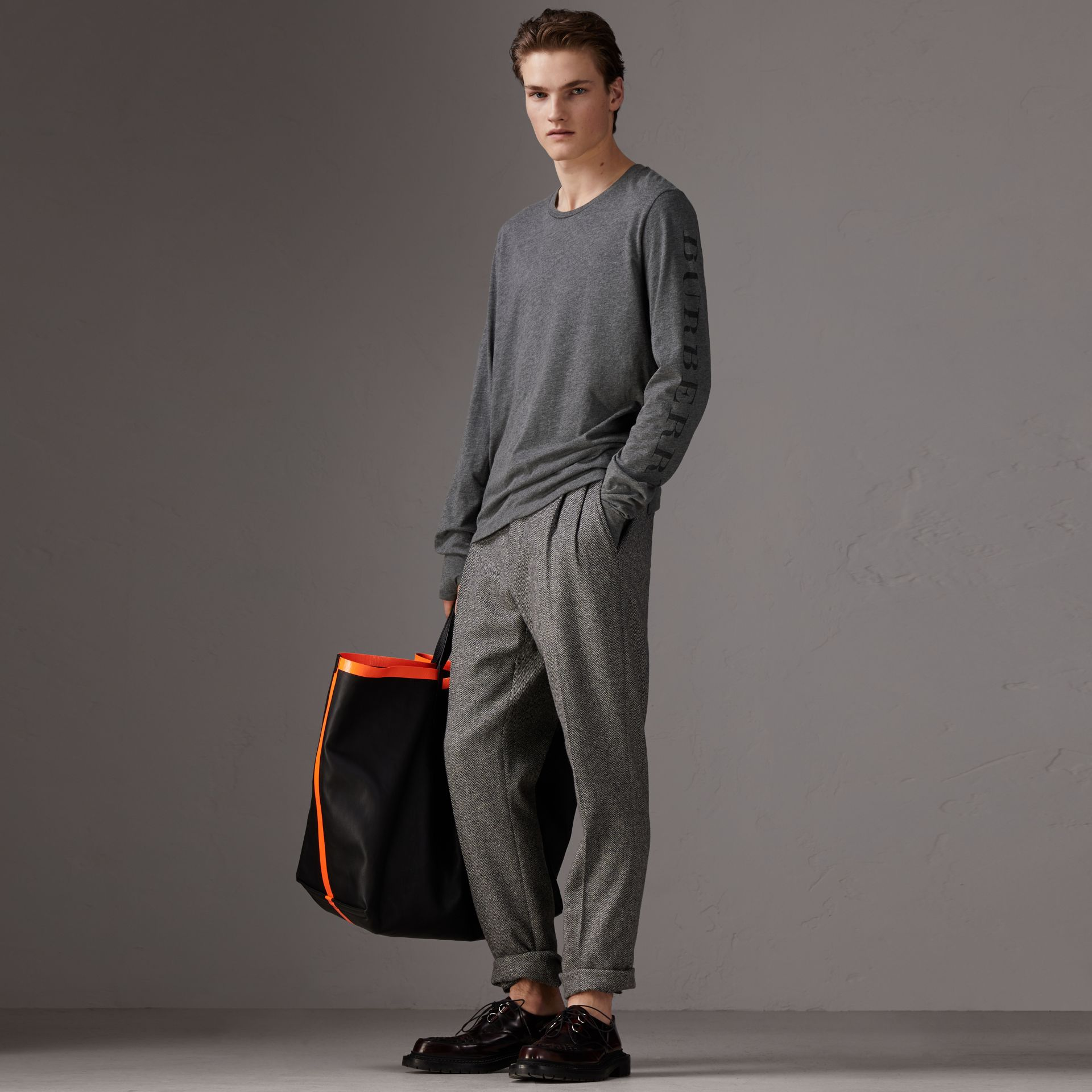 Devoré Jersey Top in Mid Grey Melange - Men | Burberry Singapore - gallery image 0