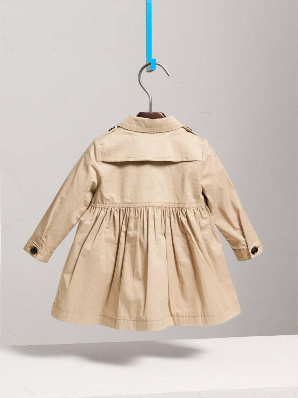 Stretch Cotton Trench Dress in Honey - Children | Burberry - cell image 3