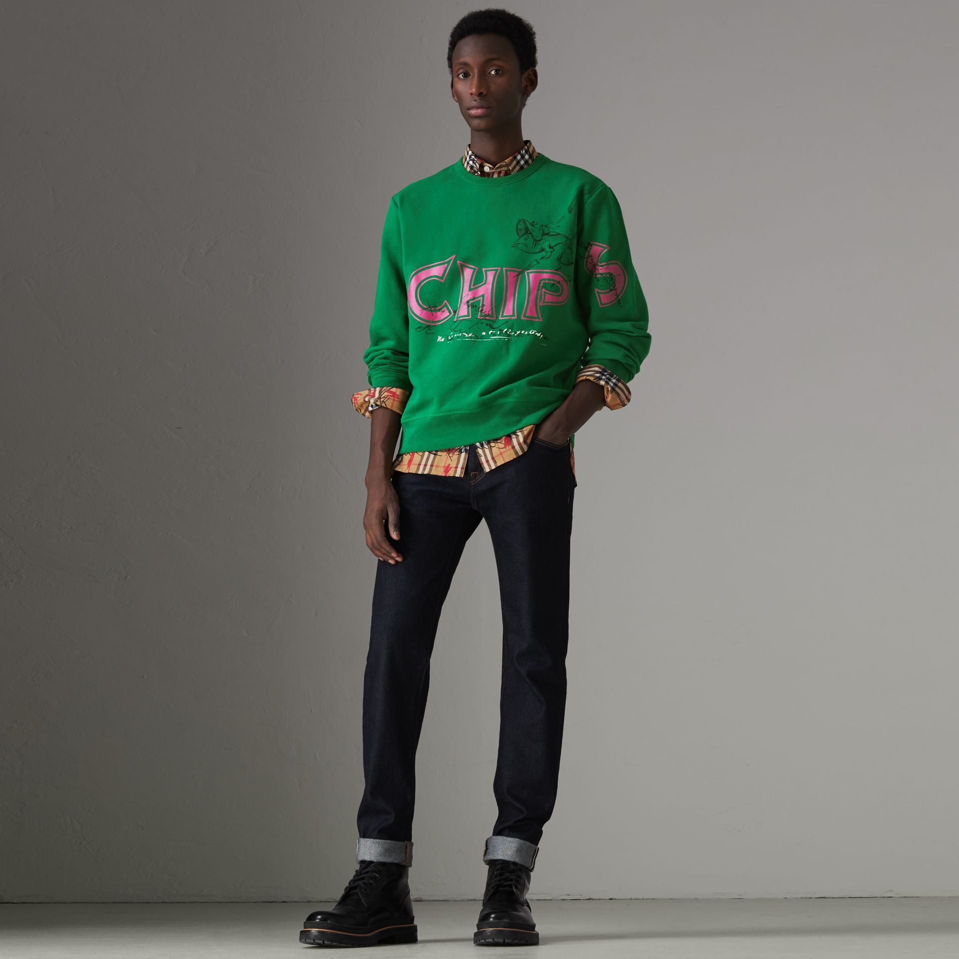 Fish and Chips Print Cotton Sweatshirt in Pigment Green - Men | Burberry - gallery image 0