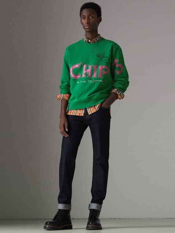 Fish and Chips Print Cotton Sweatshirt in Pigment Green