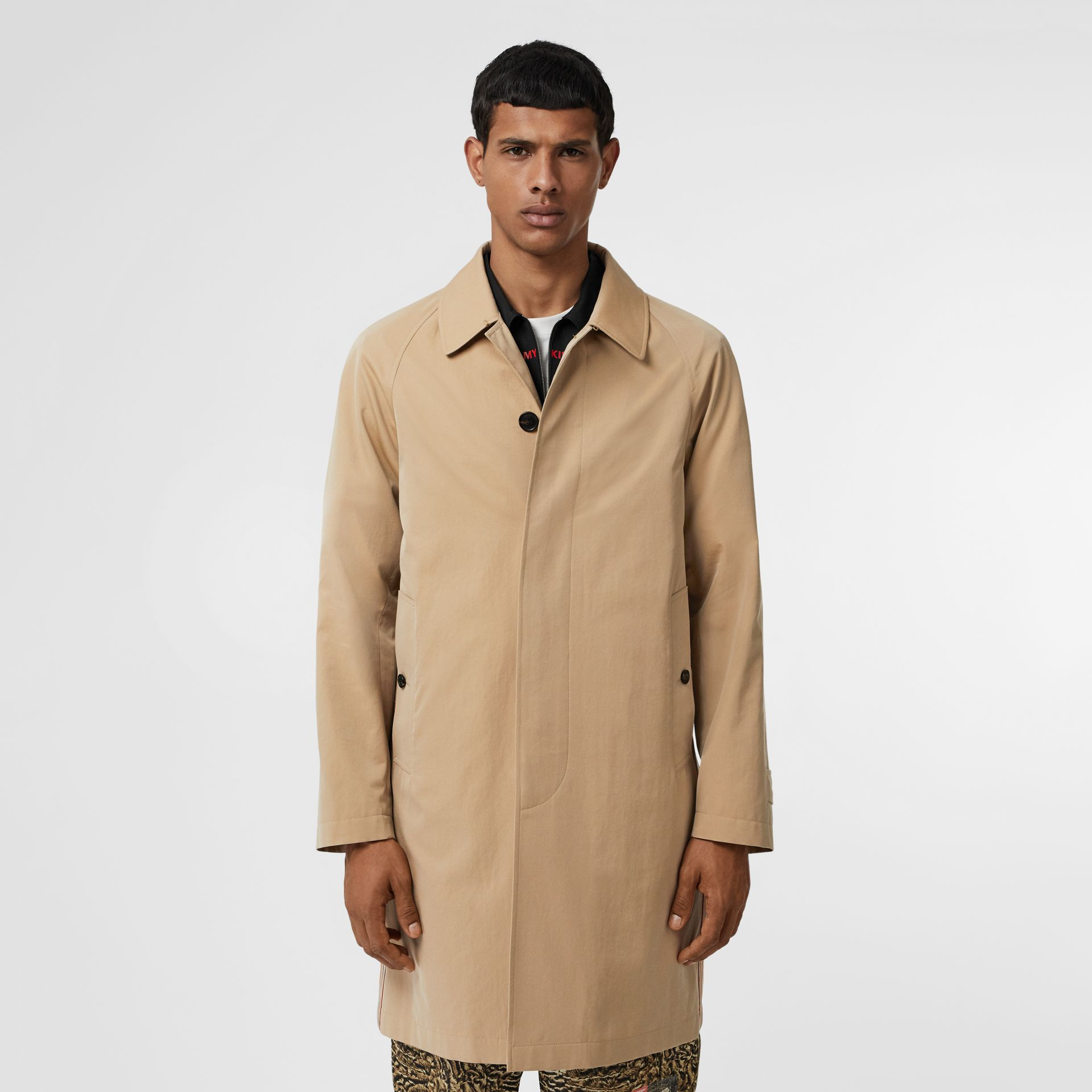 Icon Stripe Detail Tropical Gabardine Car Coat in Honey - Men | Burberry - gallery image 6