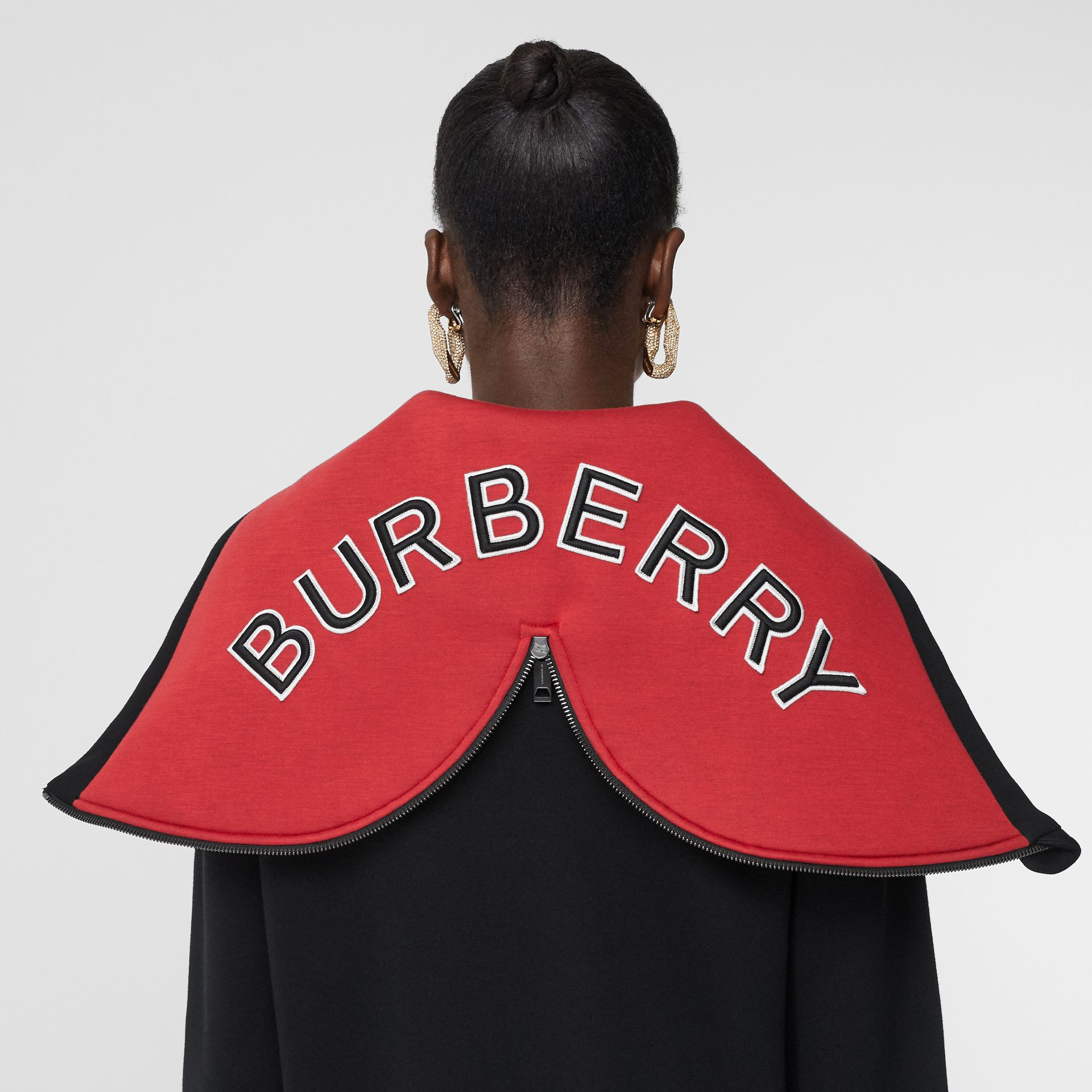 Logo Appliqué Neoprene Hooded Top in Black - Women | Burberry - gallery image 4