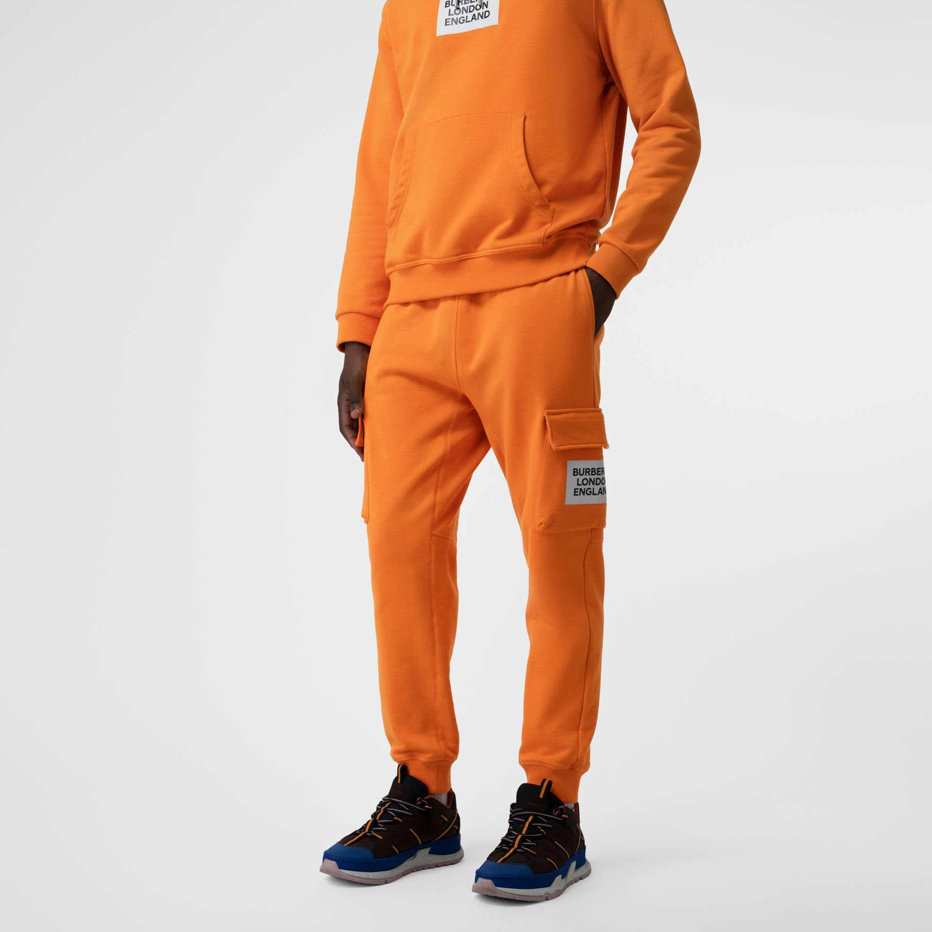 Logo Print Cotton Trackpants in Bright Orange - Men | Burberry United Kingdom - gallery image 4