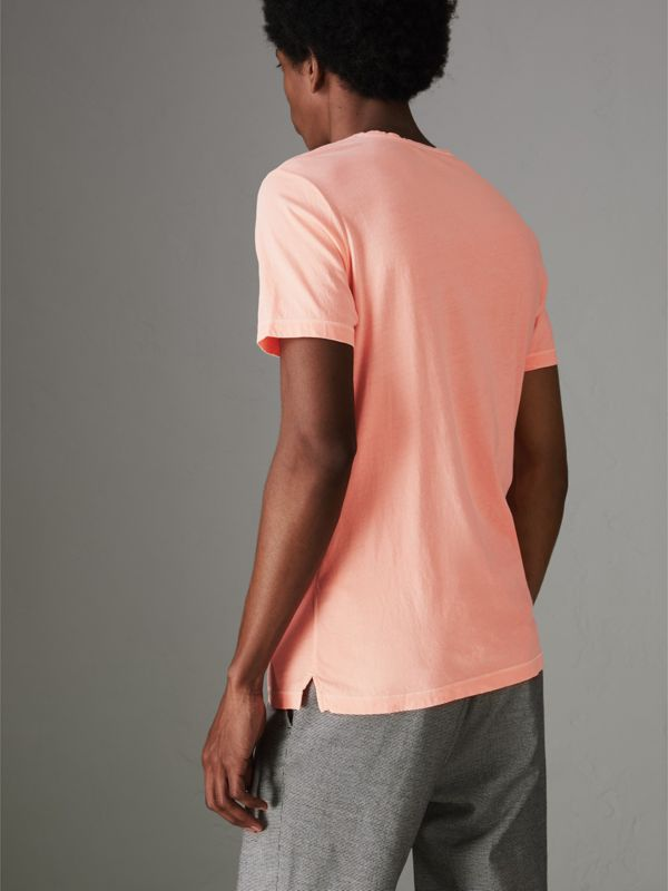 Doodle and Equestrian Knight Print Cotton T-shirt in Bright Clementine - Men | Burberry - cell image 2