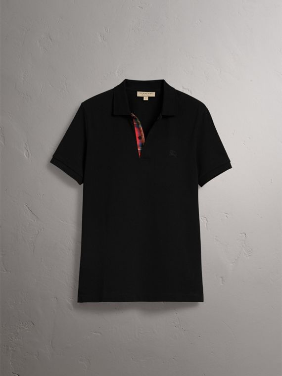 Tartan Trim Cotton Piqué Polo Shirt in Black - Men | Burberry Australia - cell image 3