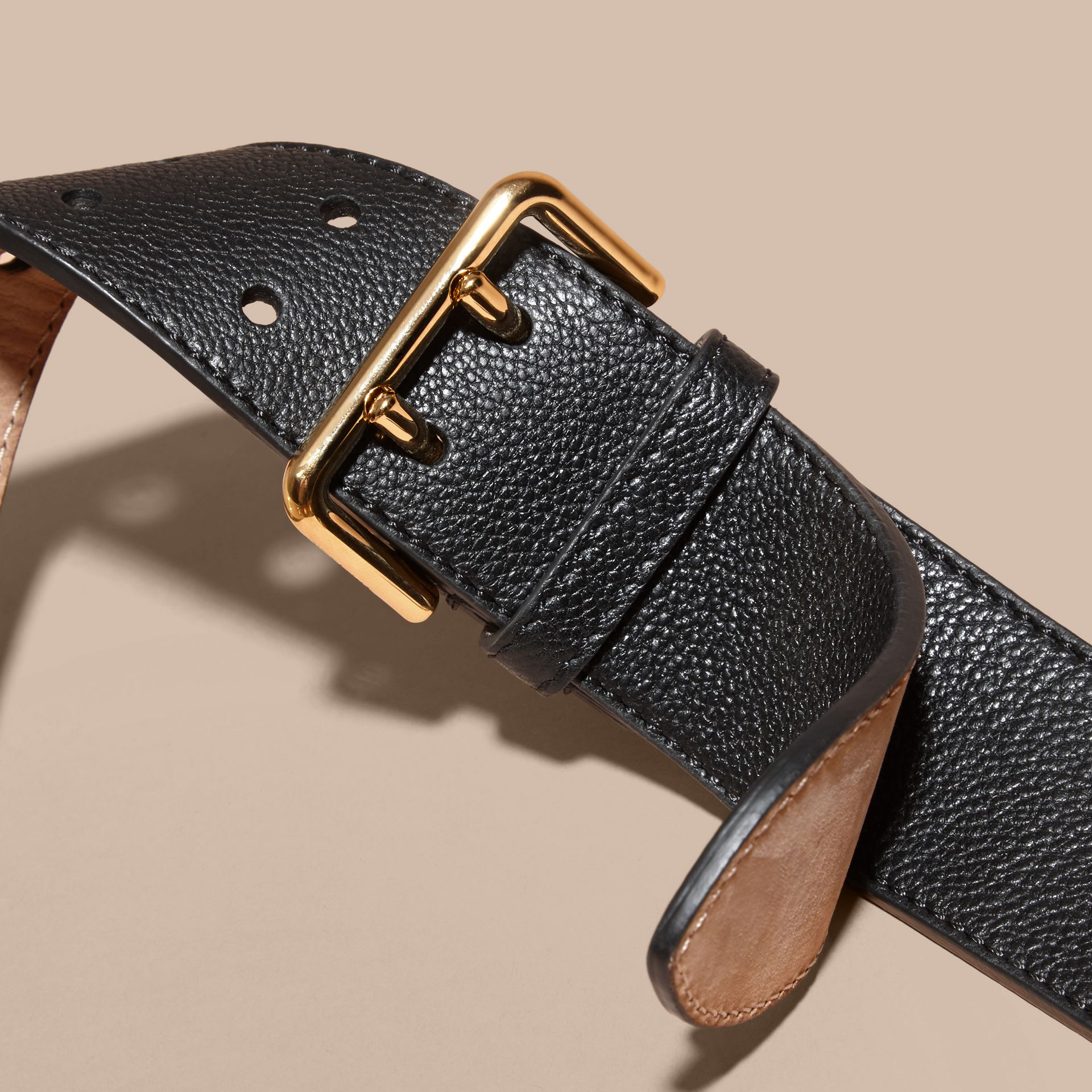 Black Eyelet Detail Grainy Leather Belt Black - gallery image 3