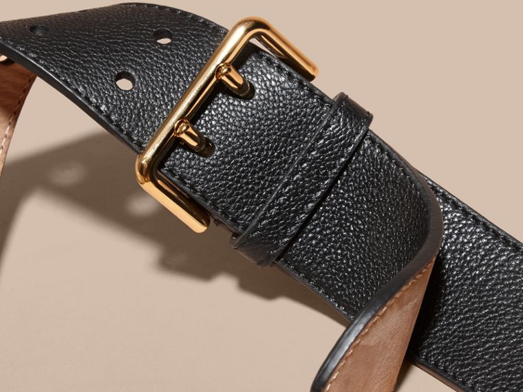Black Eyelet Detail Grainy Leather Belt Black - cell image 2