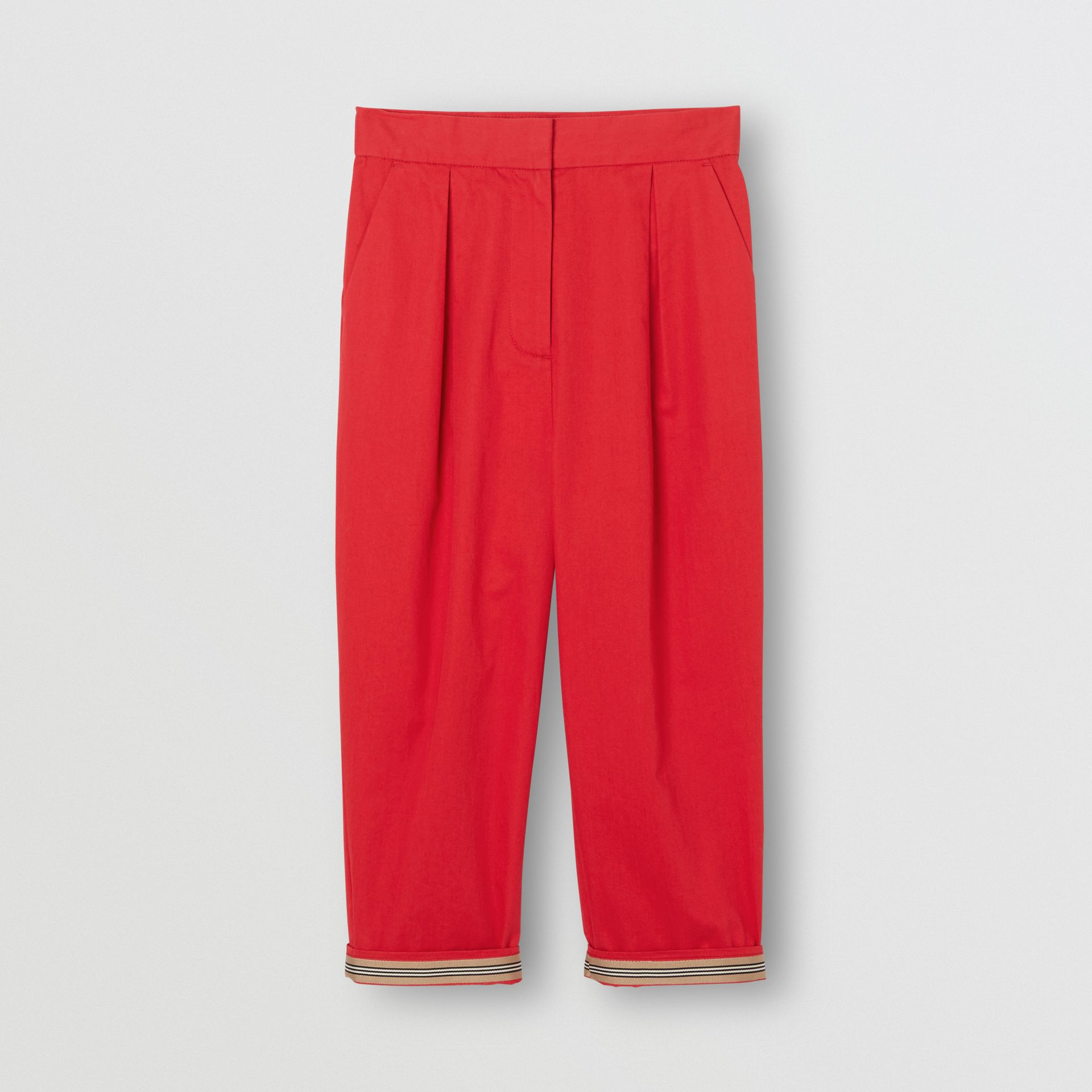 Cotton Twill Tapered Trousers in Bright Red | Burberry Australia - gallery image 0