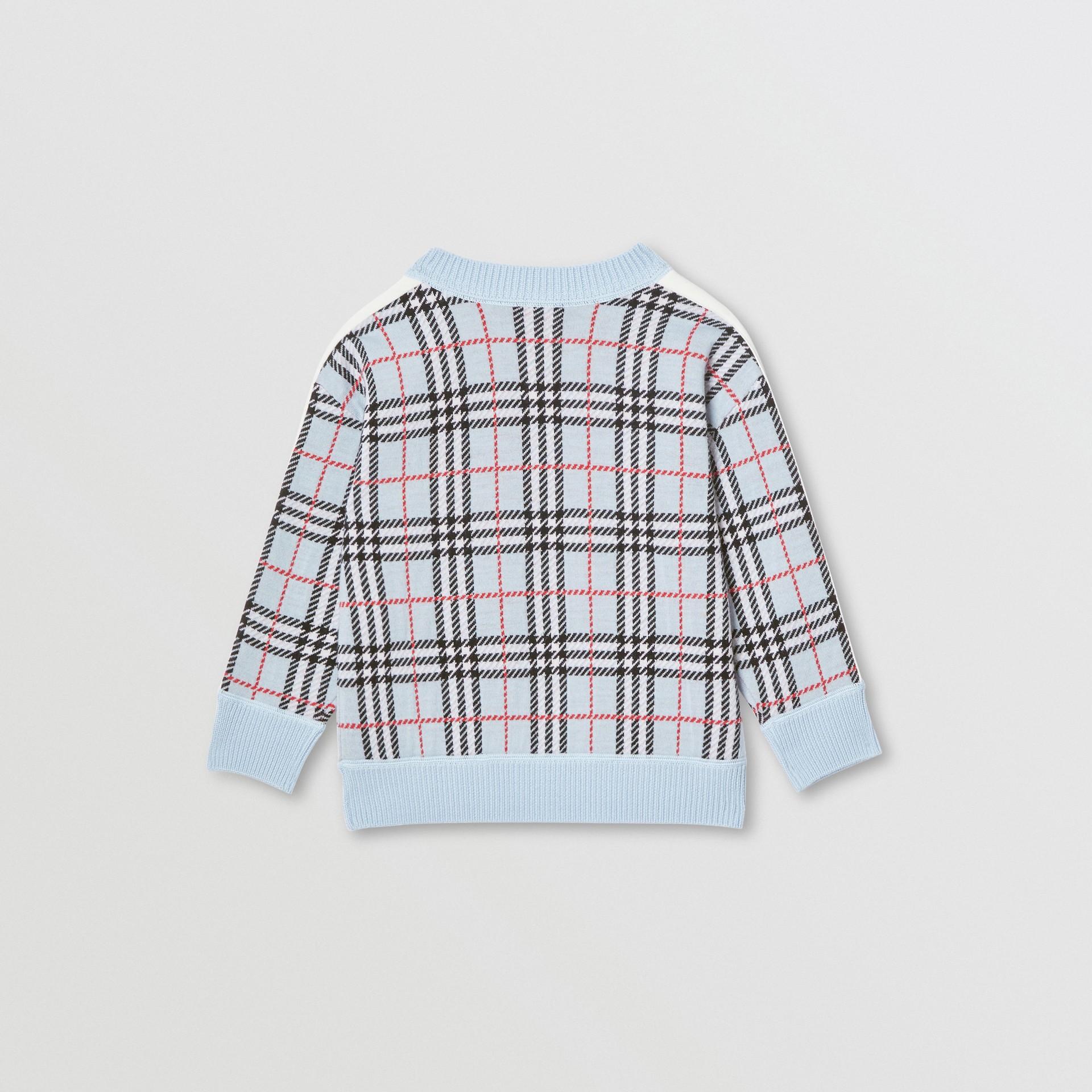 Check Merino Wool Jacquard Sweater in Pale Blue | Burberry Australia - gallery image 4