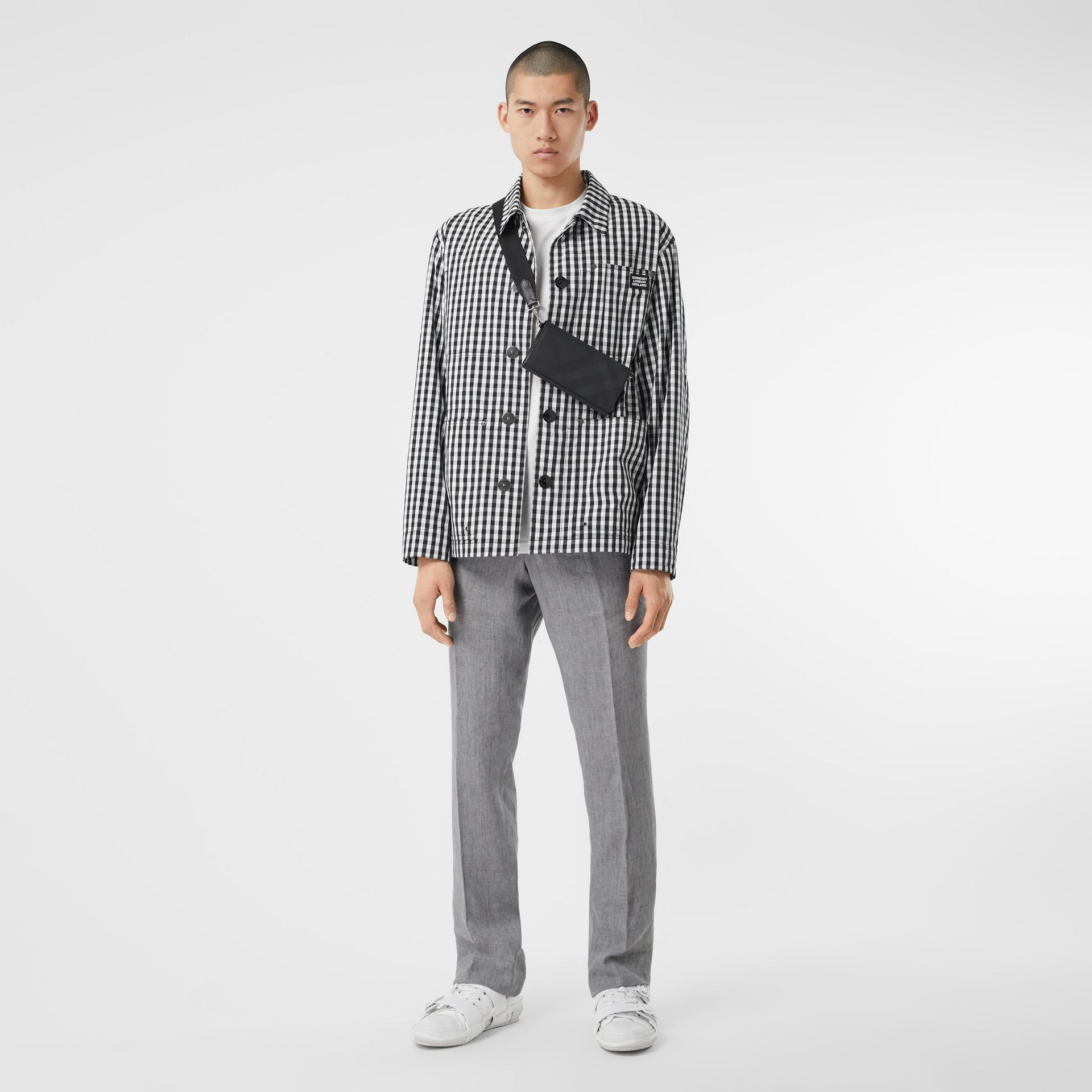 Pocket Detail Gingham Technical Wool Jacket in Black - Men | Burberry Hong Kong S.A.R - gallery image 6