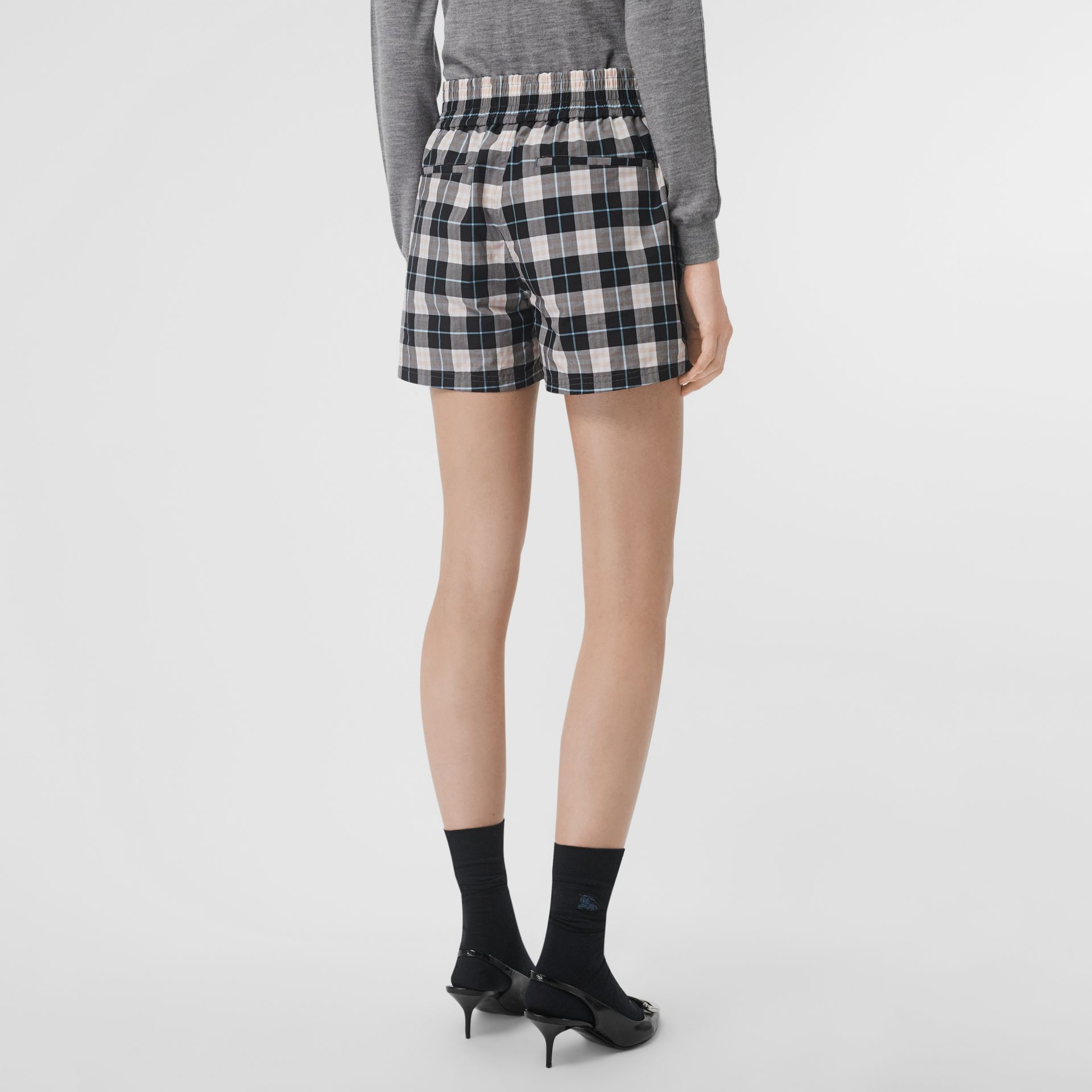 Check Cotton High-waisted Shorts in Pink Apricot - Women | Burberry Australia - gallery image 2