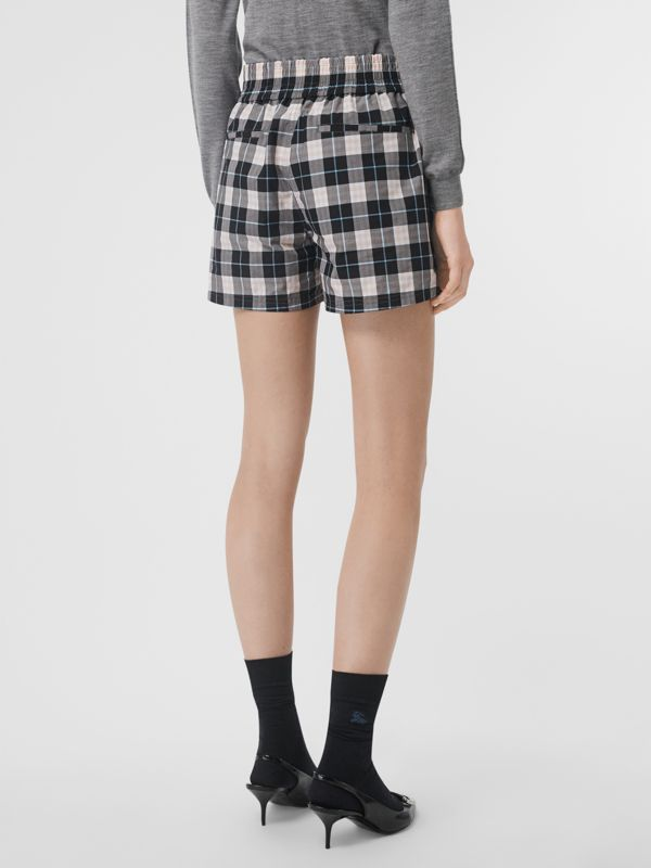 Check Cotton High-waisted Shorts in Pink Apricot - Women | Burberry Australia - cell image 2