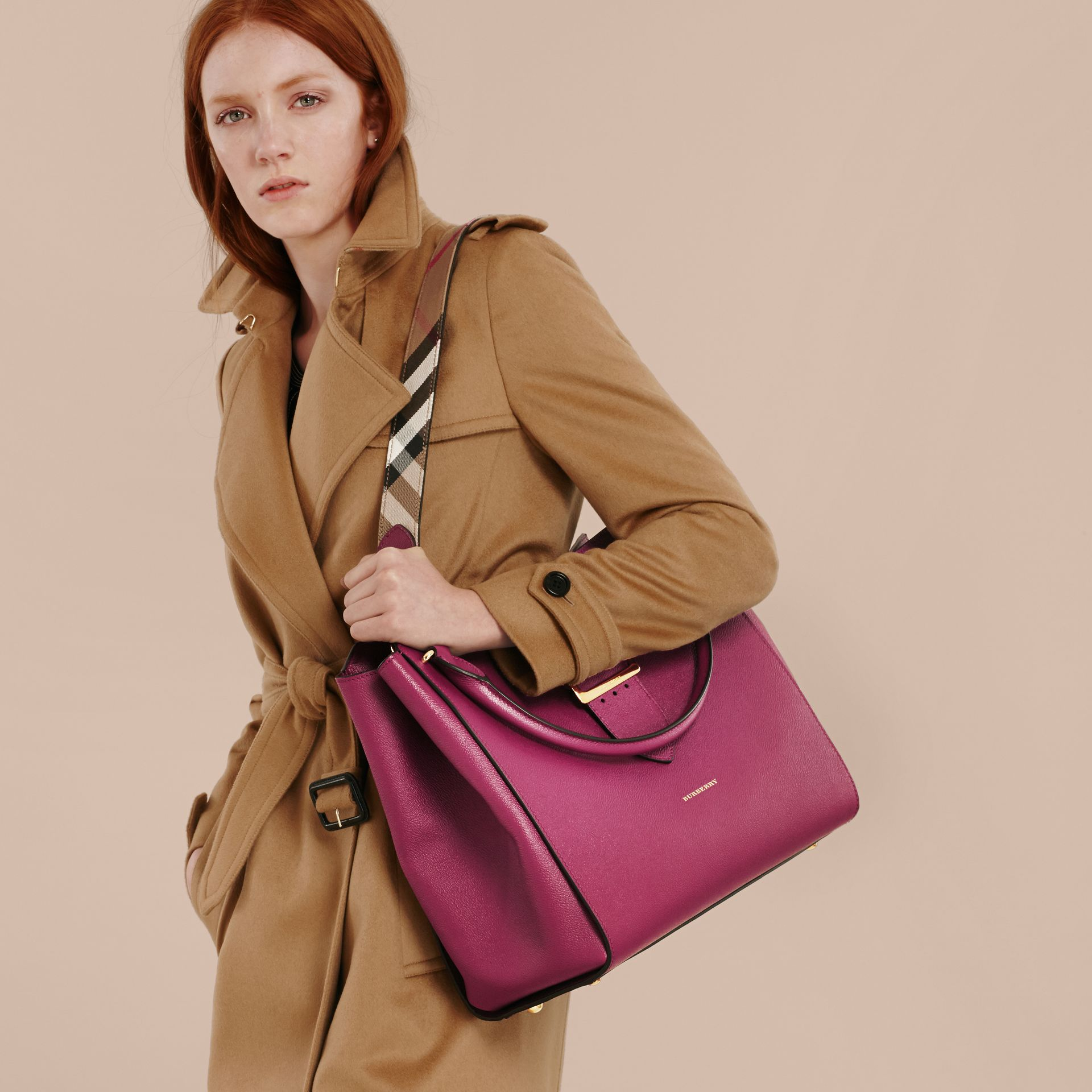 The Large Buckle Tote in Grainy Leather in Dark Plum - gallery image 3