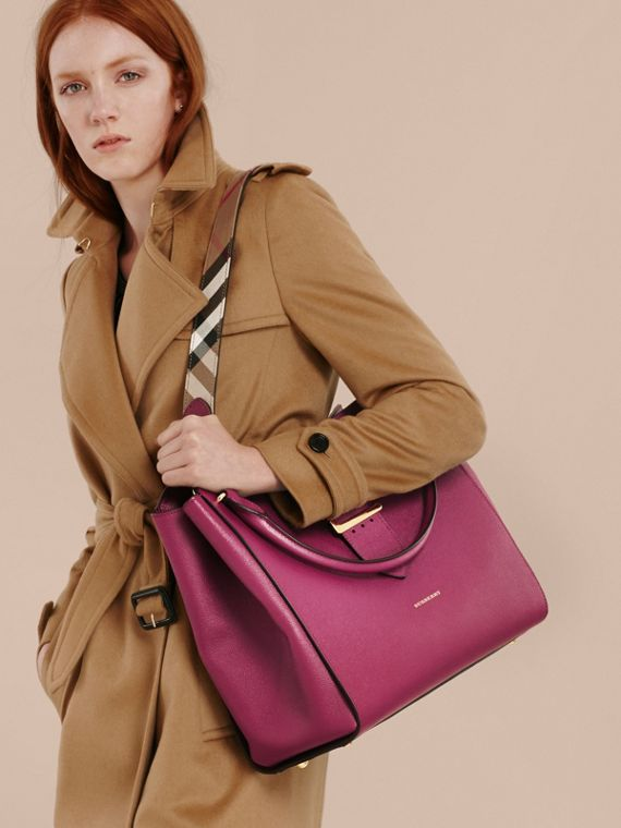 The Large Buckle Tote in Grainy Leather Dark Plum - cell image 2