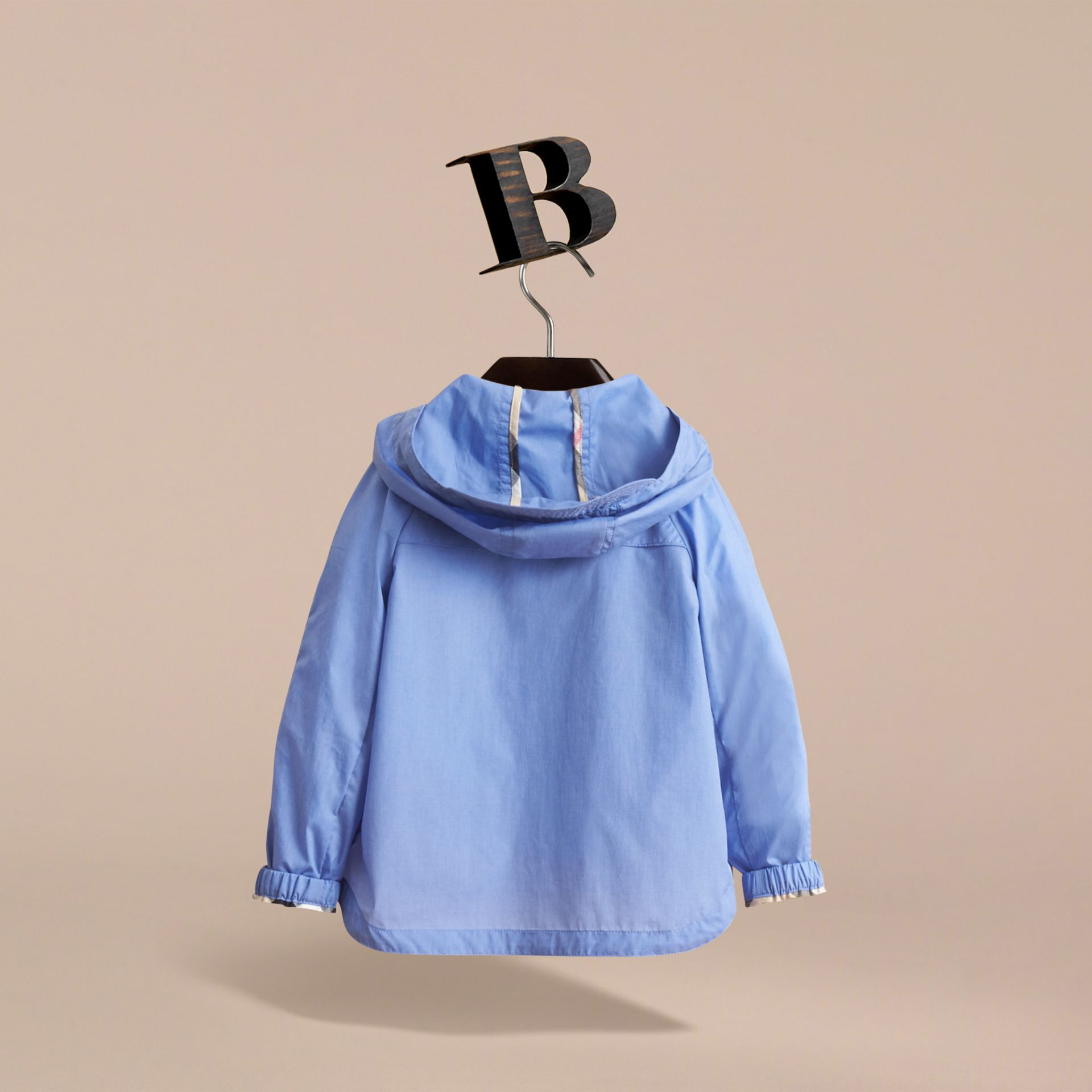 Showerproof Hooded Technical Jacket in Hydrangea Blue | Burberry - gallery image 4